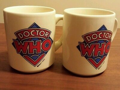 DR. WHO MUGS 1989 Coffee Mugs BBC 2 SIDED Phone Booth SCIENCE FICTION TV New