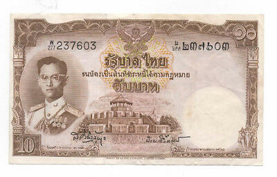 Thai 10 Baht Note Vintage Thailand Paper Money Note Bill Near Mint