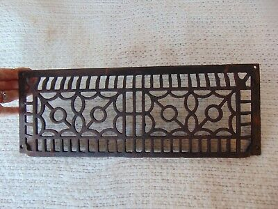 "Antique Cast Iron Art Deco Wall Grate Heating Vent Register Floor 15"" x 5.5 RARE"