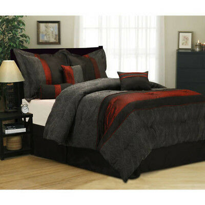 7-Piece Bedding Comforter Set QUEEN SIZE BLACK/RED SHAMS PILLOWS BEDSKIRT ROOM