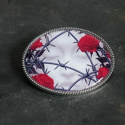 Handmade Belt Buckle White Face With Barbed Wire And Roses