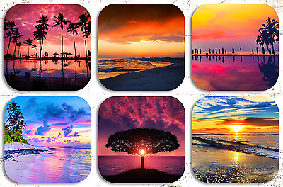 BEACH SUNSETS DRINK COASTERS x 6