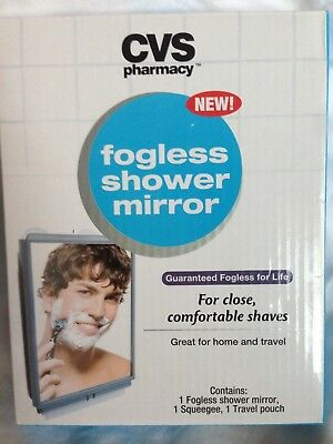 Cvs Fogless Shower Mirror With Suction Cups Travel Pouch And Sqeegee Appx 5X4.5