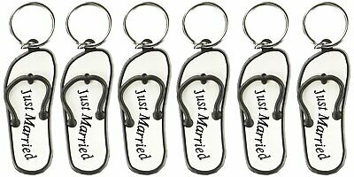 16c68ea674293 Mini Flip Flop Just Married Key Chains Pack of 6 Keychain Honeymoon Gifts