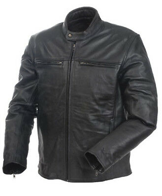 Mossi 20-151-38 Men's Cruiser Premium Jacket Black Leather Front Chest - 38