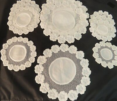 12 Embroidered Doilies Placemats Coasters Doily Tea Luncheon Dessert Set Pansies