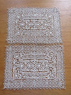 Lace Placemats Doilies Antique Vintage Table Doily Cotton Needlelace Tray Mats