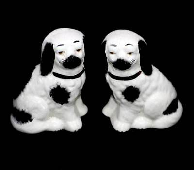 Vintage pair of Cavalier King Charles Spaniel figurines with crackle glaze