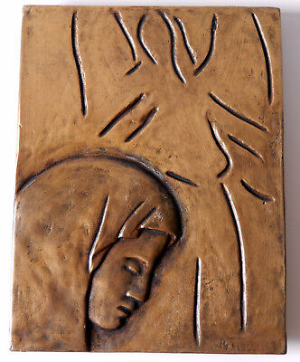 Pietro Porcelli - Mary & Angel Bronze Plaque Religious Sculpture Early 20thC
