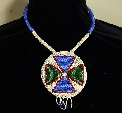 Antique Old Native American Navajo Beaded Collar Necklace Indian Beadwork