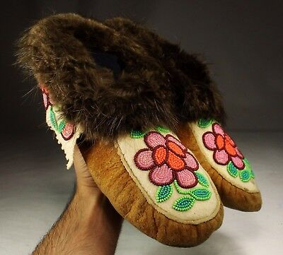 Antique Native American Ojibwa Ojibwe / Cree Indians Beaded Moccasins Beadwork