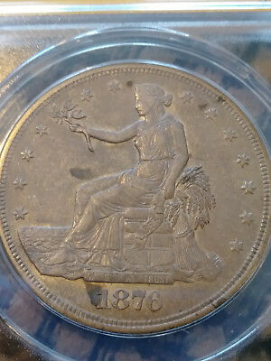 1876-S T$1 Trade Dollar .. ANACS AU-55 .. Some Toning