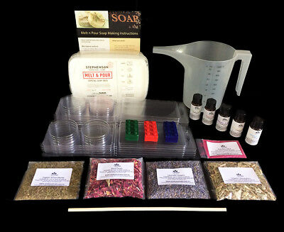 NEW Soap Making Kit with Moulds,Colour,Fragrance,Botanicals,Jug - Makes 20 Soaps