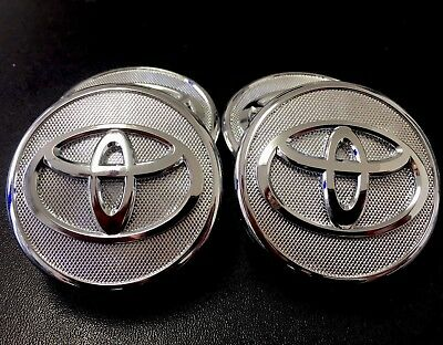 "2x CHROME SILVER WHEEL CENTER HUB CAPS 57MM 2.25"" TOYOTA YARIS PRIUS COROLLA"