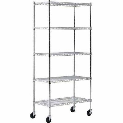 EDSAL Muscle Rack Chrome 4-Wheeled Wire Commercial Shelving Unit Storage Shelves