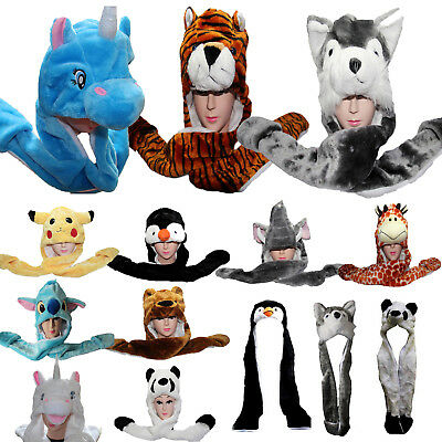 Adults Kids Teens Long Animal Hat Hood Scarf Plush Cap Soft Fleece Snood Gloves