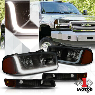 Black Housing Headlight Amber Signal LED DRL for 99-07 GMC Sierra/Yukon Classic Auto Parts & Accessories Car & Truck Lighting & Lamps