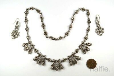 BEAUTIFUL ANTIQUE ENGLISH SILVER FOILED PASTE NECKLACE & EARRINGS SET c1800's