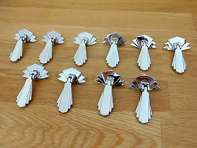 10 X Chrome Art Deco Door Or Drawer Pull Drop Handles Cupboard Furniture  Knobs