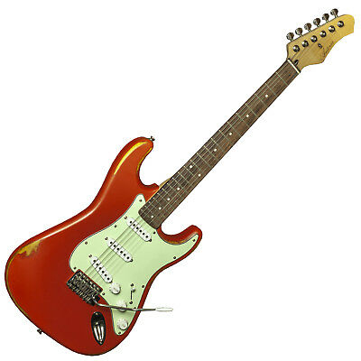 Antoria DSSRED Cosmos 1950 Strat Electric Guitar Distressed Red Vintage RRP £249