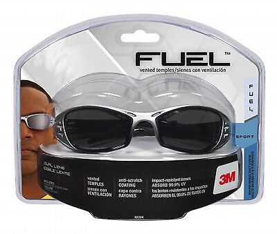 3M - Fuel Sport Safety Glasses, Silver/Black With Grey Mirror Lens