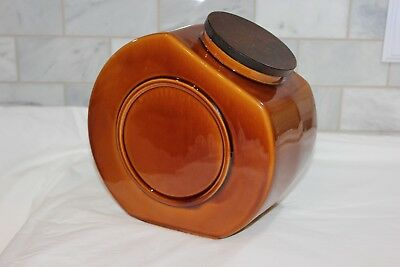 Vintage HYALYN Mid Century MID MOD! Cookie Jar Large Canister 200-D Amber Brown