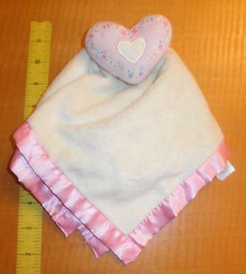 BABY ESSENTIALS Pink Yellow Heart Flowers Security Blanket LOVEY Satin Rattle
