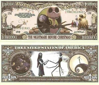 Nightmare Before Christmas Jack Skellington Million Dollar Bills x 4