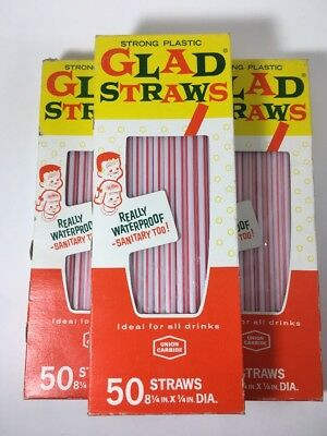 150 Mid-Century Vintage Drinking Straws Glad Strong Plastic NOS In Box