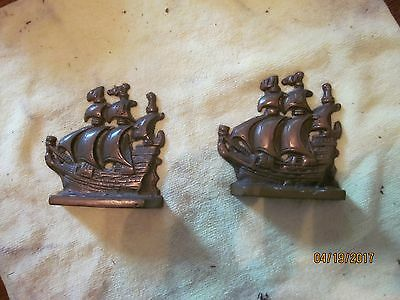 Antique Pair of Bronze Galleon Book Ends, great patina