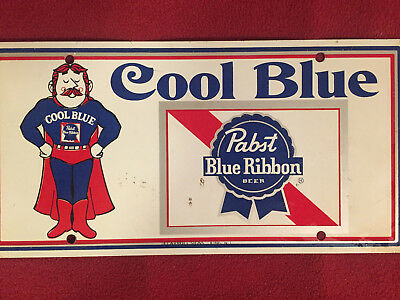 "Vintage Pabst Blue Ribbon ""Cool Blue"" License Plate,Tag,Never Mounted"