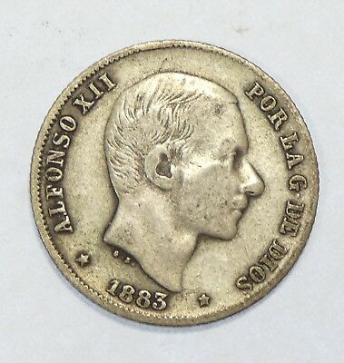 1883 PHILIPPINES Alfonso XII Silver 20 Centimos Coin VERY FINE