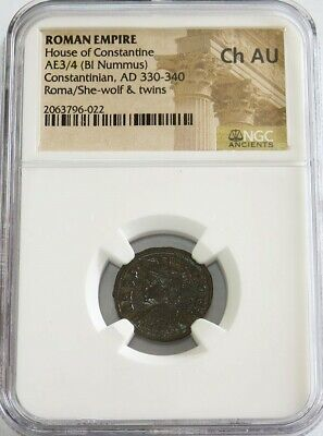 330 - 340 Ad Ancient Roma Onstantinian She-Wolf Romulus & Remus Ngc Ch Au