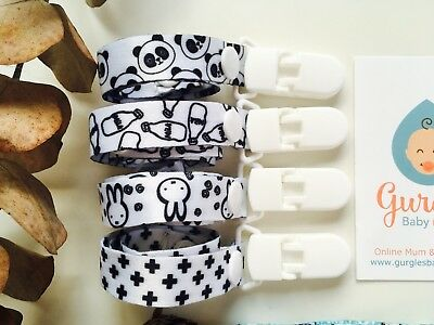 Universal Clip Dummy Teether Soother Sophie Giraffe black & white panda bunny