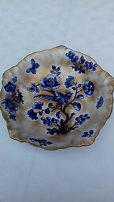Losol ware blue & gold floral bowl - diameter 10 inches / 25 cms