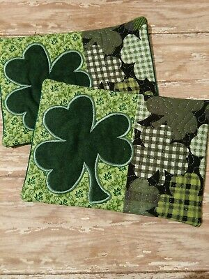 St Patricks Day Shamrock Mini Quilt Drink Coaster Mug Rug Pocket Home Decor C
