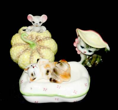 Vintage group of 3 cute cat and mouse figurine ornaments