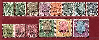 Bahrain 1933 #1-14, Indian Stamps Overprinted, Used, SCV $486.95
