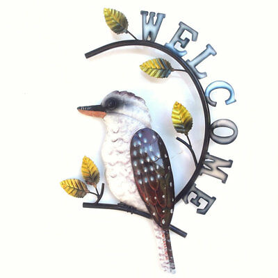 Kookaburra Metal Wall Art Welcome Sign Ornament Hanging Iron 47cm