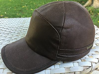 5bc89f6f1 Stetson Byers Ii Cowhide Leather Germany Brown Fitted Ball Cap S 55Cm Ear  Flaps
