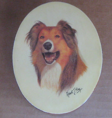 Rough Collie Dog by Robert J May- Small Oval Lacquered Box Trinket Jewery 4x3x2