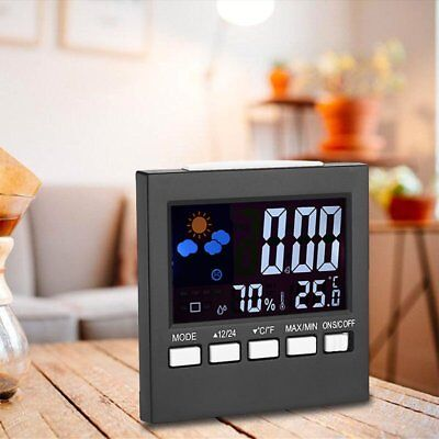 LCD Digital Indoor Weather Forecast Temperature Humidity Monitor Alarm Clock SY