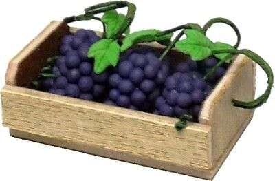 Dollhouse Miniature Crate with 6 Bunches of Purple/Black Grapes - 1:12 Scale
