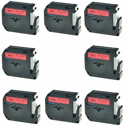 8PK M-K431 MK-431 Black on Red 0.47'' Label Tape For Brother P-Touch PT-80SCCP