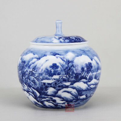 Hand painted snow scene tea caddy Chinese Blue and white porcelain tea container