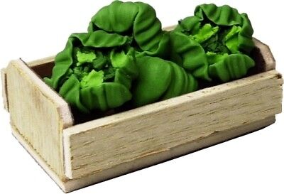 Dollhouse Miniature -- Crate with 6 Heads of Lettuce - 1:12 Scale