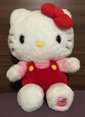 Classic Hello Kitty Sanrio Plush Doll Red Overalls Pink Stripes