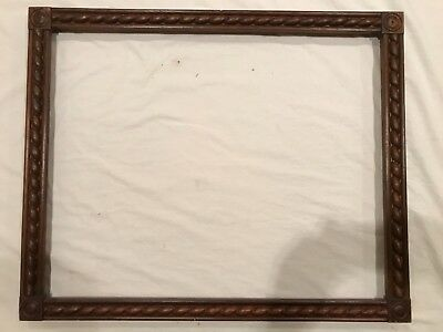 Antique 30x24 American Wood Block Corner Picture Frame 19th Century Style