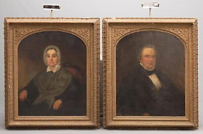 19th Century Pair of Ancestral Portraits Man Woman Lady Antique Oil Paintings
