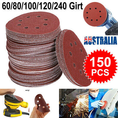 "125pcs 125mm 5"" Sanding Discs 60 80 100 120 240 Mixed Grit Orbital Sander Pads"